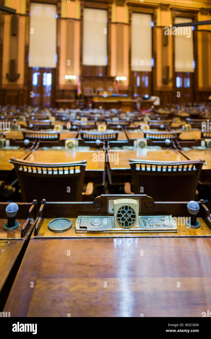 USA, Georgia, Atlanta, Georgia State Capitol Building, state house, chamber of the State House of Representatives - Stock Image