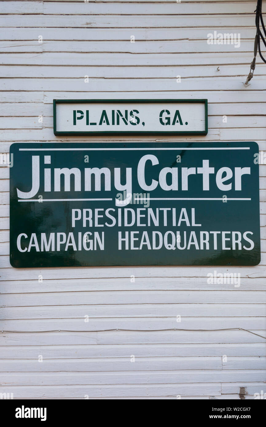 USA, Georgia, Plains, sign for Jimmy Carter Presidential Campaign Headquarters - Stock Image