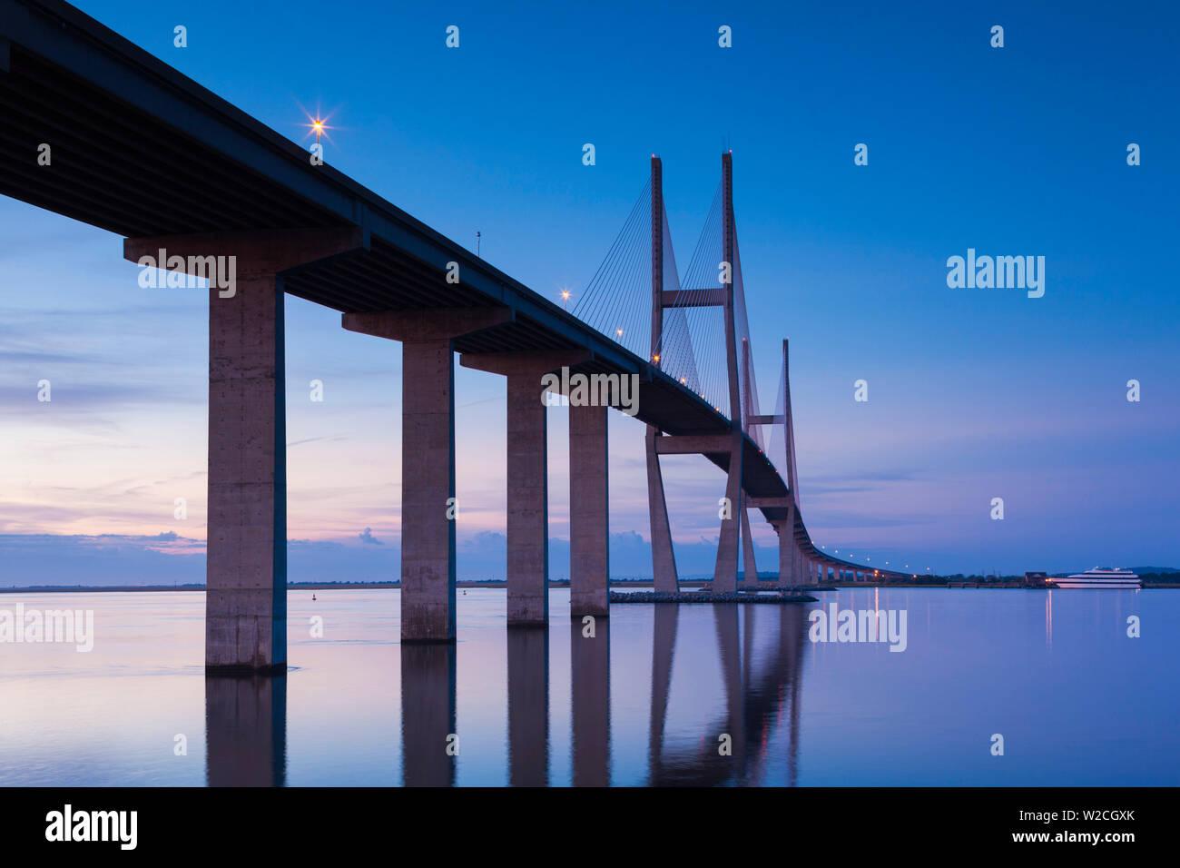 USA, Georgia, Brunswick, Sidney Lanier Bridge, across the Brunswick River - Stock Image