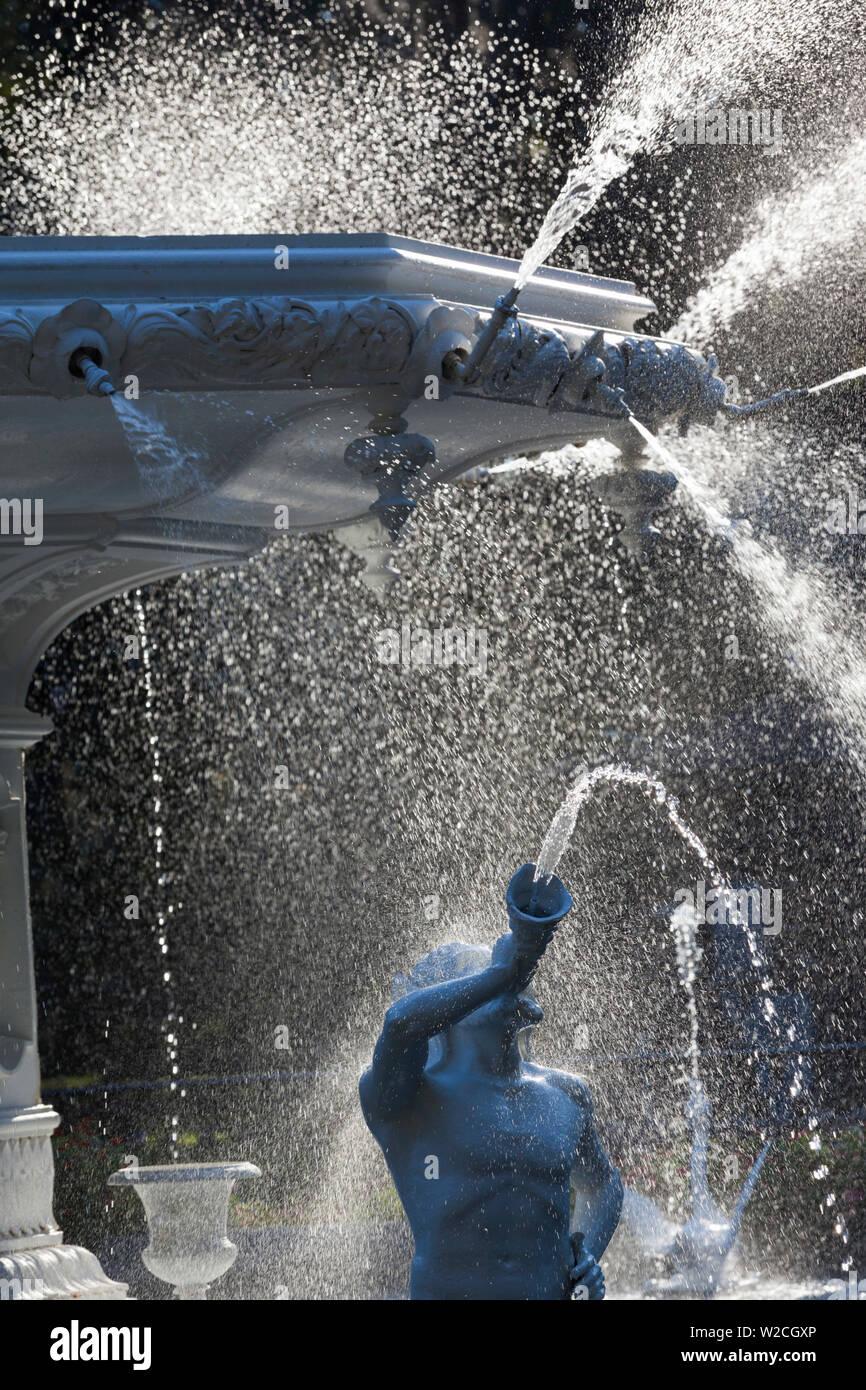USA, Georgia, Savannah, fountain in Forsyth Park - Stock Image