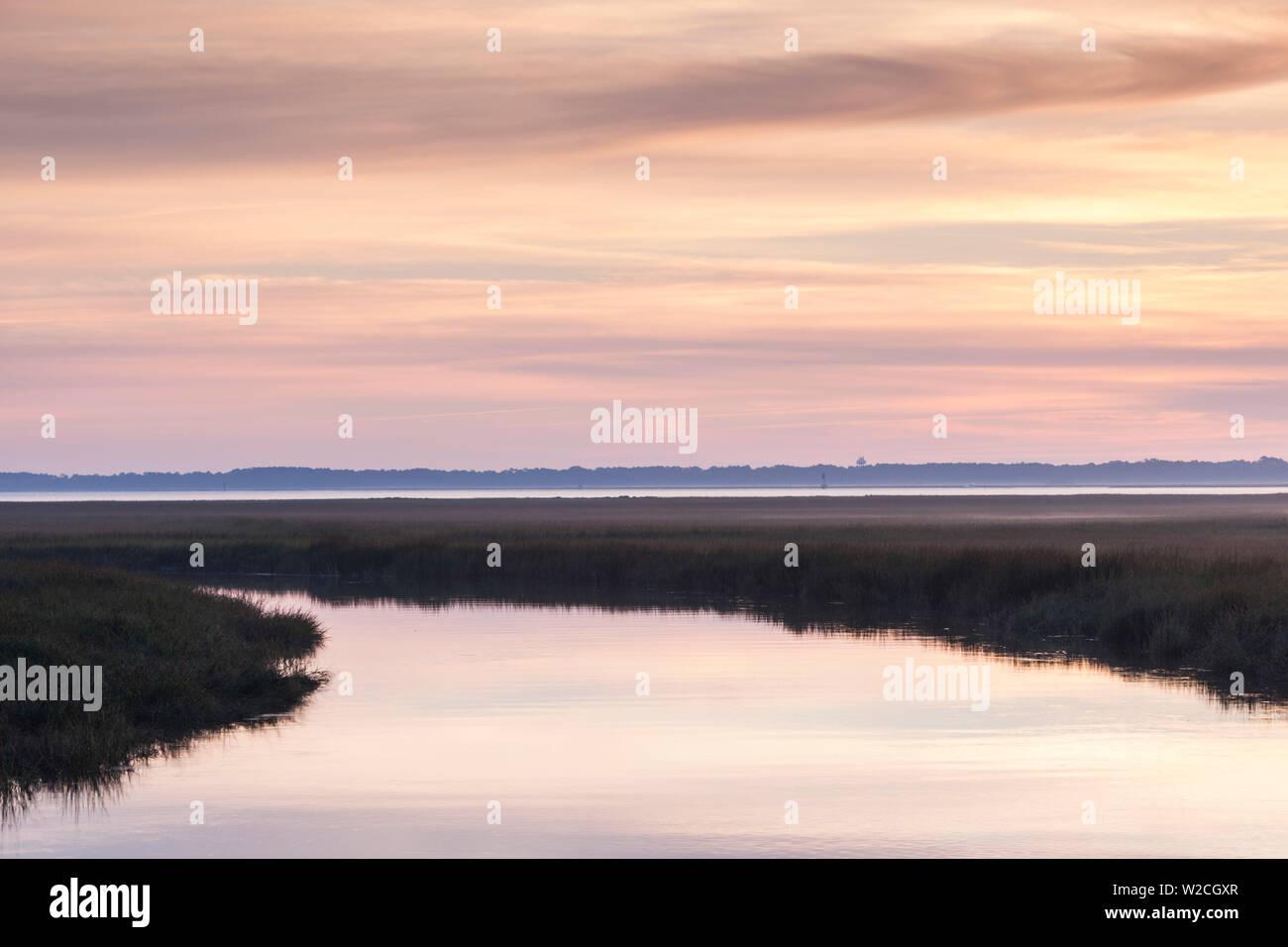 USA, Georgia, Brunswick view along the Bruswick River marshes - Stock Image