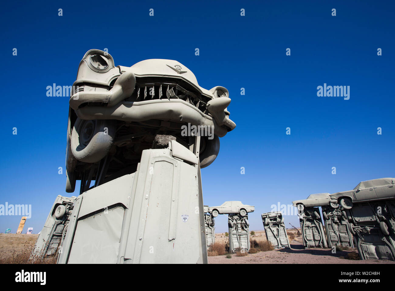 USA, Nebraska, Alliance, Carhenge, outdoor sculpture modelled on Stonehenge in England but made of old cars Stock Photo