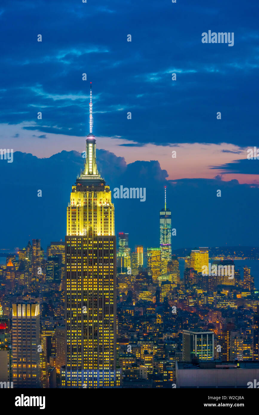 USA, New York, Midtown and Lower Manhattan, Empire State Building and Freedom Tower - Stock Image