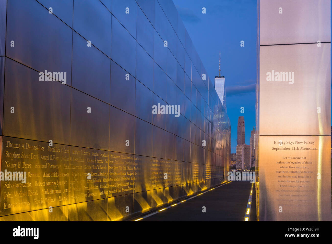 USA, New Jersey, Jersey City, Liberty State Park, Empty Sky memorial to new Jerseyans lost during 911 attacks on the World Trade Center, World Trade Center in background - Stock Image