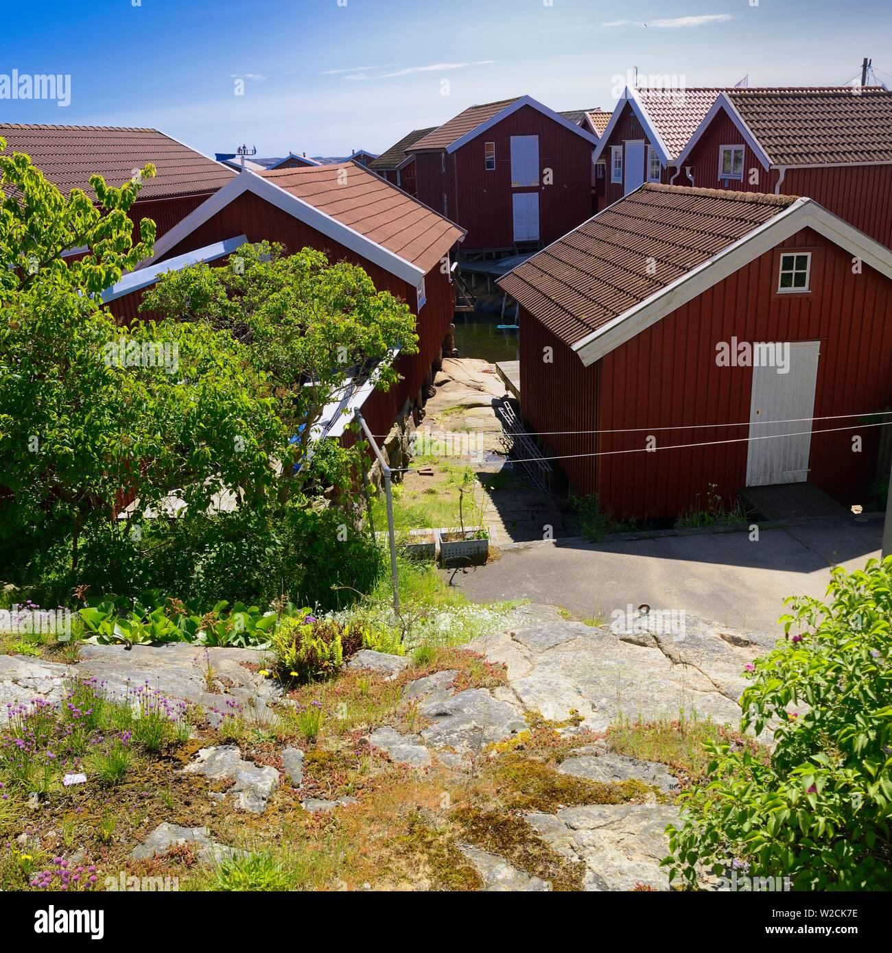 Old boathouses on poles - Stock Image