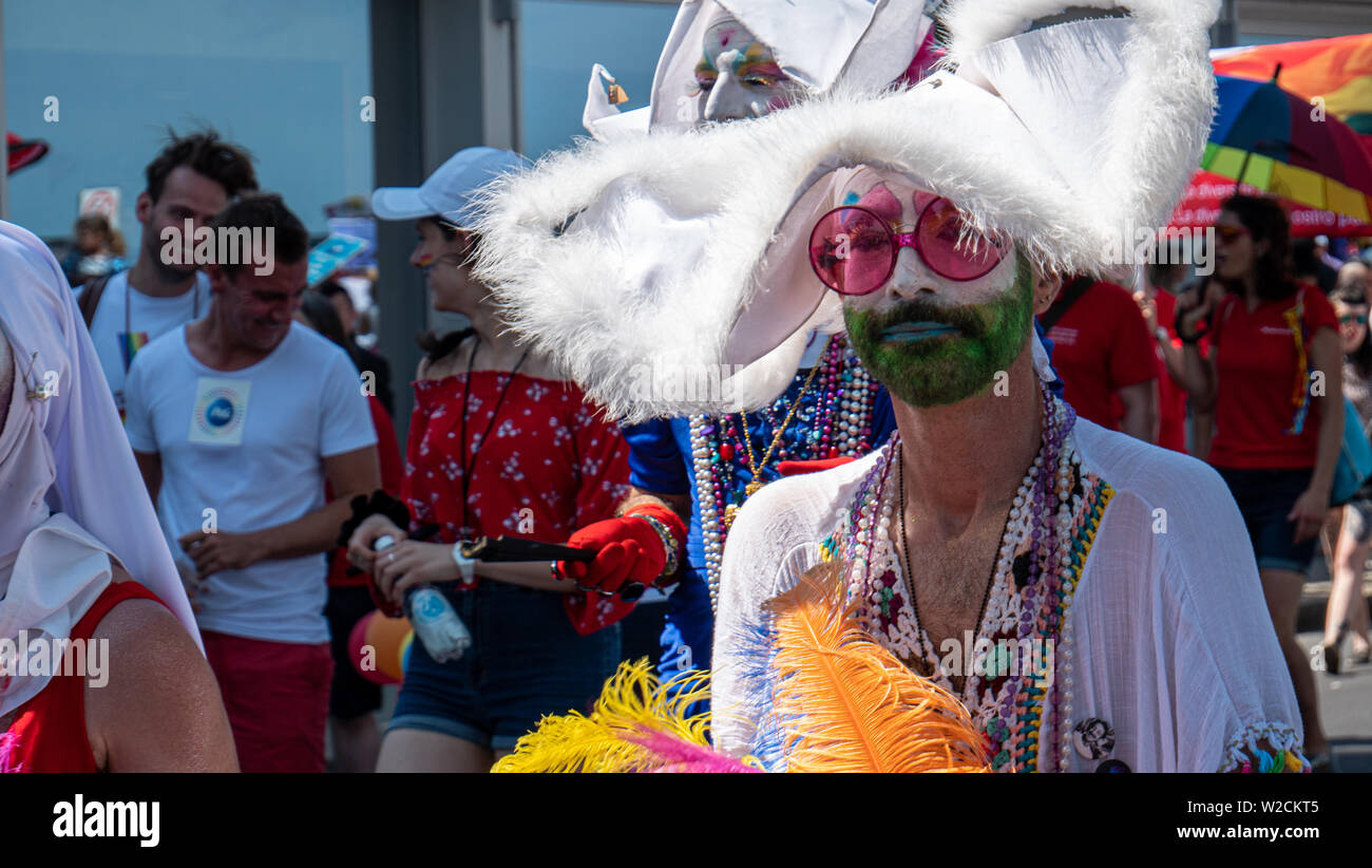 Geneva, Switzerland - 07/06/2019 : The Geneva Pride March 2019 is an event intended to give visibility to homosexual, bi, trans*, intersex, queer and Stock Photo