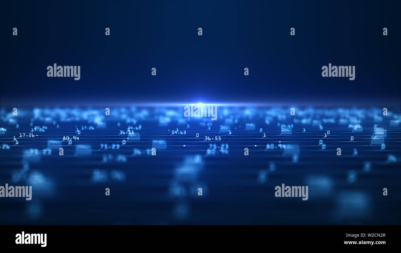Big data visualization concept. Machine learning algorithms. Analysis of information. Technology data and binary code network conveying connectivity, - Stock Image