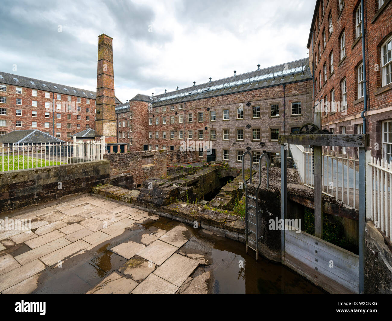 View of historic preserved Stanley Mills  former cotton mills factory in Stanley, Perthshire, Scotland, UK Stock Photo
