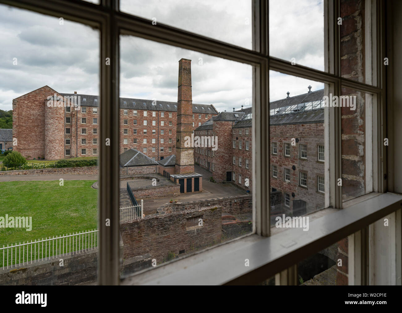 View of historic preserved Stanley Mills  former cotton mills factory in Stanley, Perthshire, Scotland, UK - Stock Image