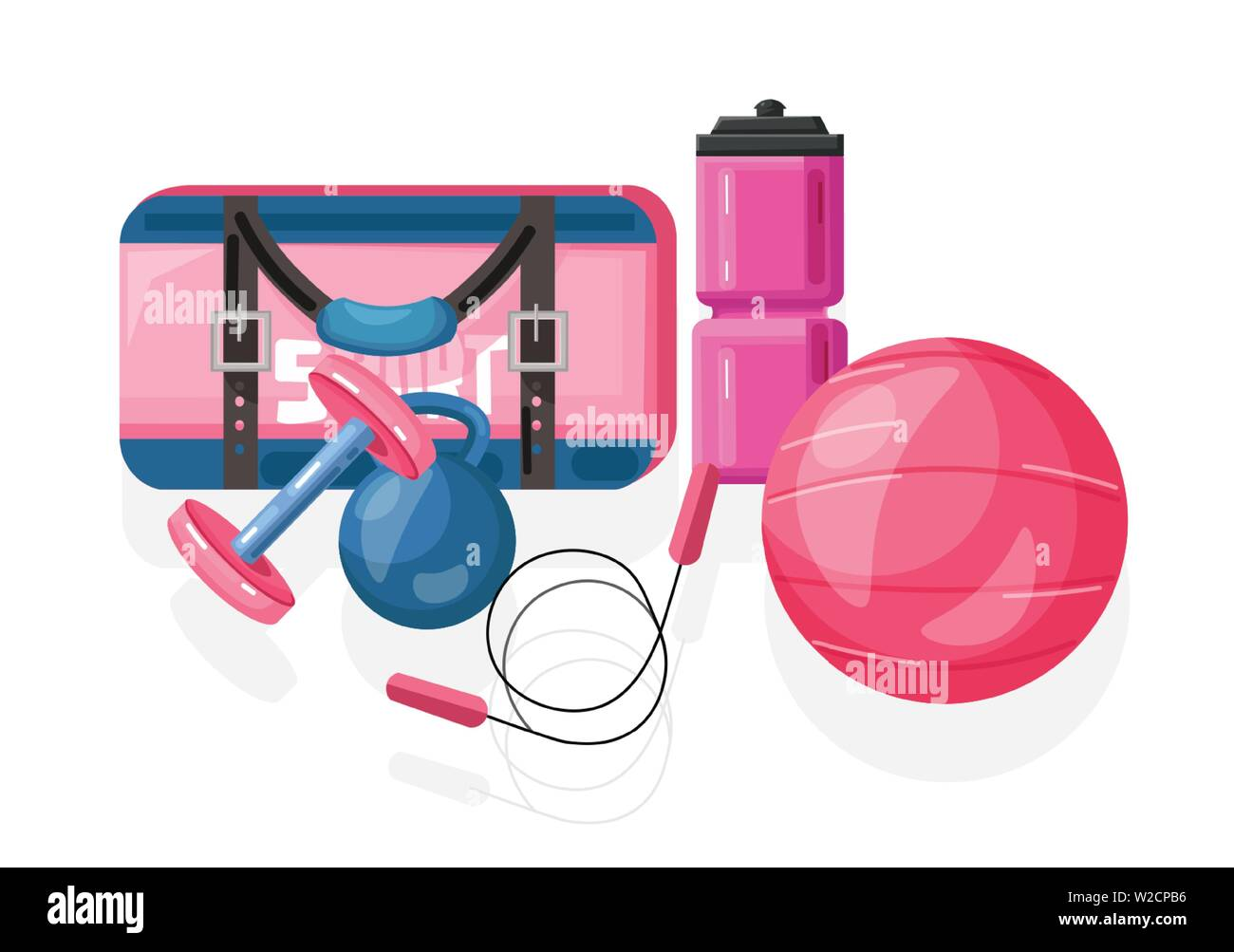 Sport Equipment Vector Flat Style Pink Ball And Bag With
