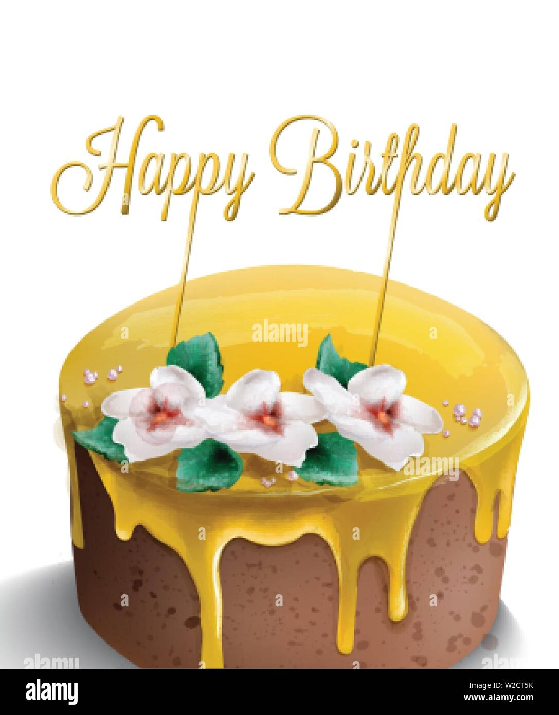 Fine Happy Birthday Cake Vector Watercolor Yellow Top Golden Text And Funny Birthday Cards Online Inifofree Goldxyz