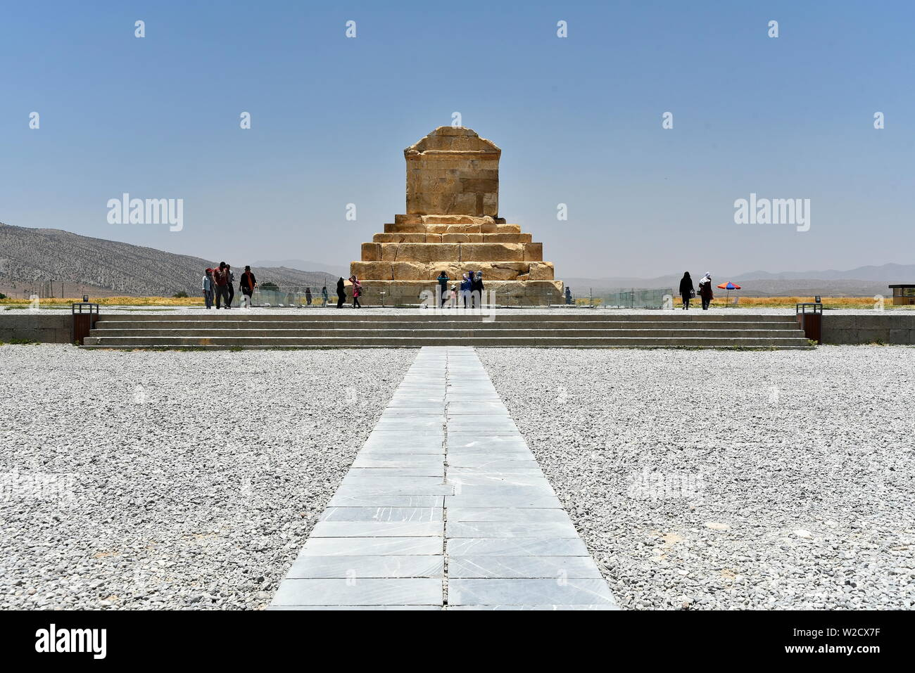 Pasargadae, Shiraz, Fars Province, Iran, June 22, 2019, Tomb of Cyrus the great at the day - Stock Image