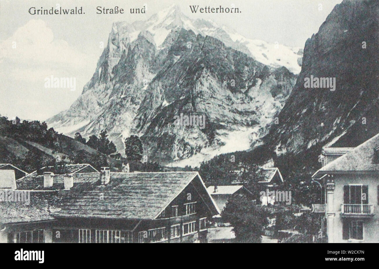 Switzerland. Grindelwald and Wetterhorn Mountains. The beginning of the 20th century. - Stock Image