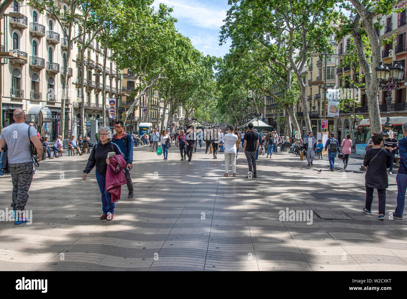 La Rambla, Barcelona, Catalunya, Spain.  We did not feel safe.  There where dubious teams on roller skates going up and down the street. - Stock Image