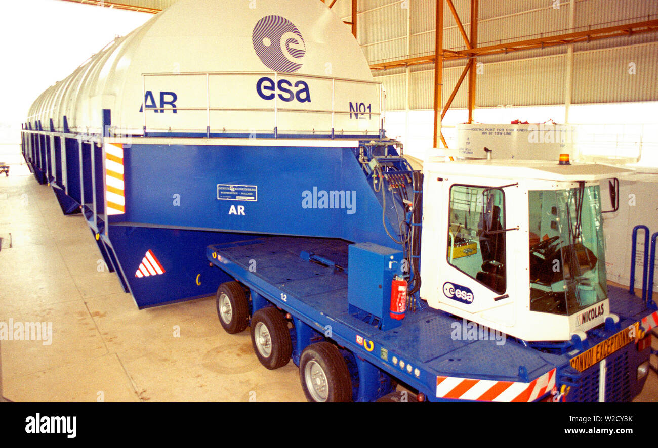 The Centre Spacial of the European Union Space Mission in Kourou, South America: A huge transporter for the space shuttle - Stock Image