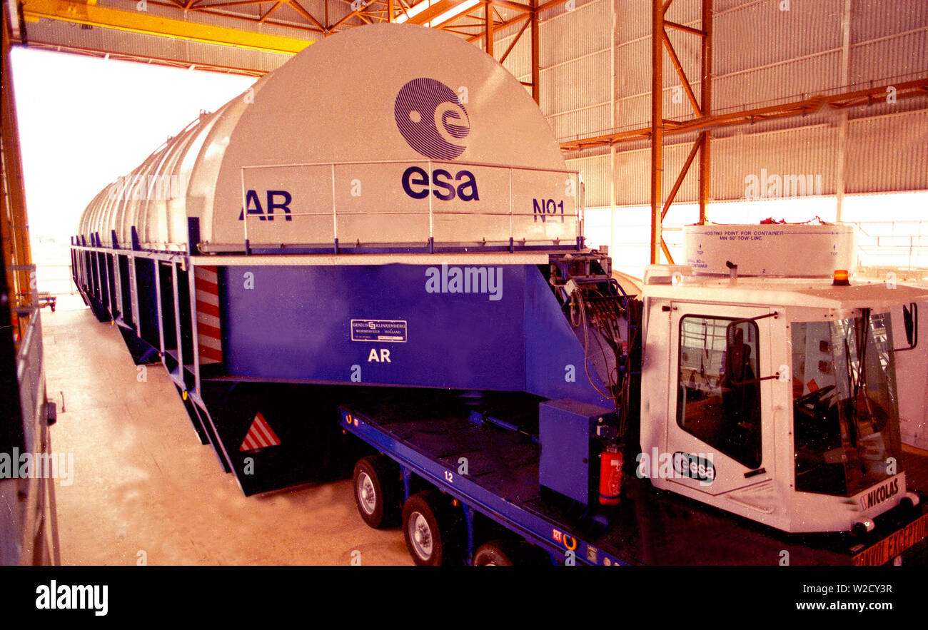 The European Union Space Mission in Kourou, South America: A huge transporter for the space shuttle - Stock Image