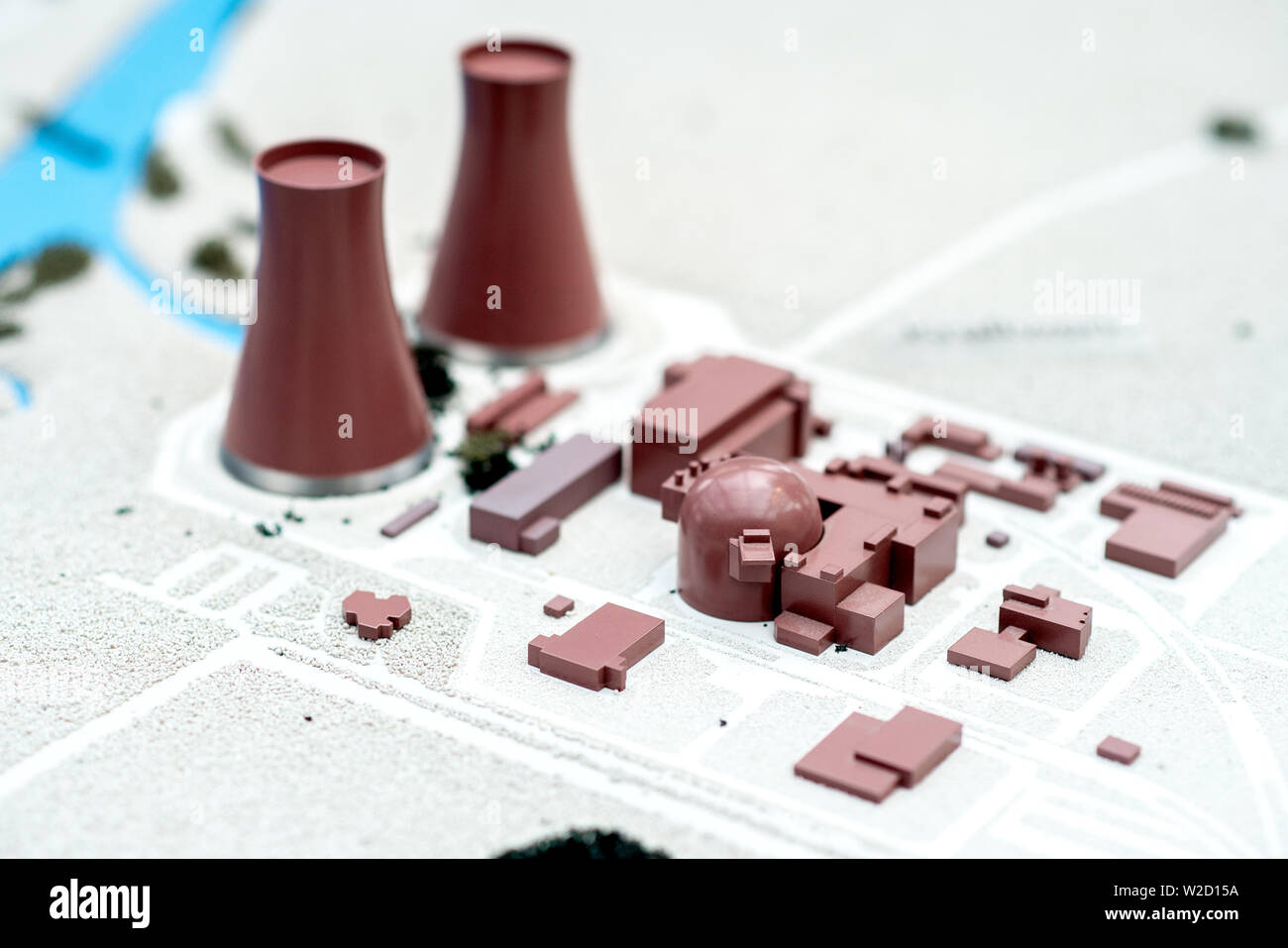 Emmerthal, Germany. 05th July, 2019. A model of the Grohnde nuclear power plant can be found in the information centre near the power plant. The Grohnde nuclear power plant (KWG) is located north of the town of Grohnde an der Weser in the municipality of Emmerthal in the Hameln-Pyrmont district. Credit: Hauke-Christian Dittrich/dpa/Alamy Live News - Stock Image