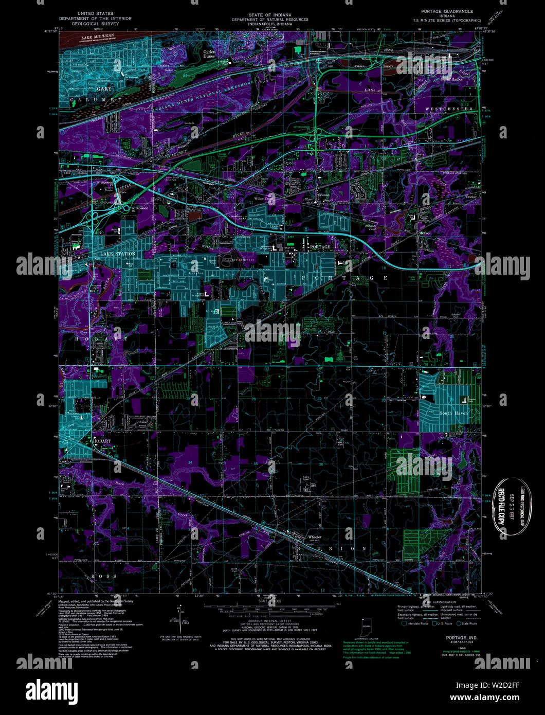 USGS TOPO Map Indiana IN Portage 159370 1968 24000 Inverted Restoration Stock Photo
