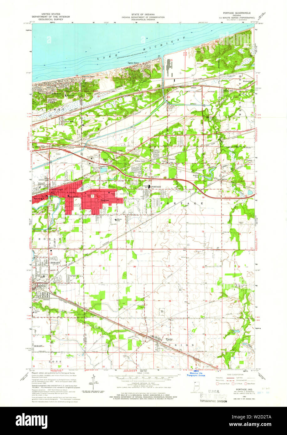 USGS TOPO Map Indiana IN Portage 160888 1960 24000 Restoration Stock Photo