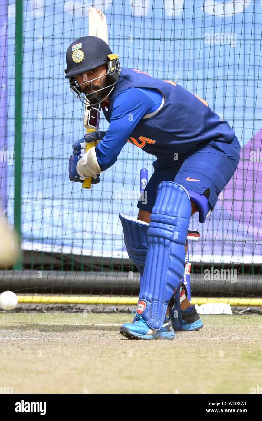 India's KL Rahul bats during the nets session at Emirates Old Trafford, Manchester. - Stock Image
