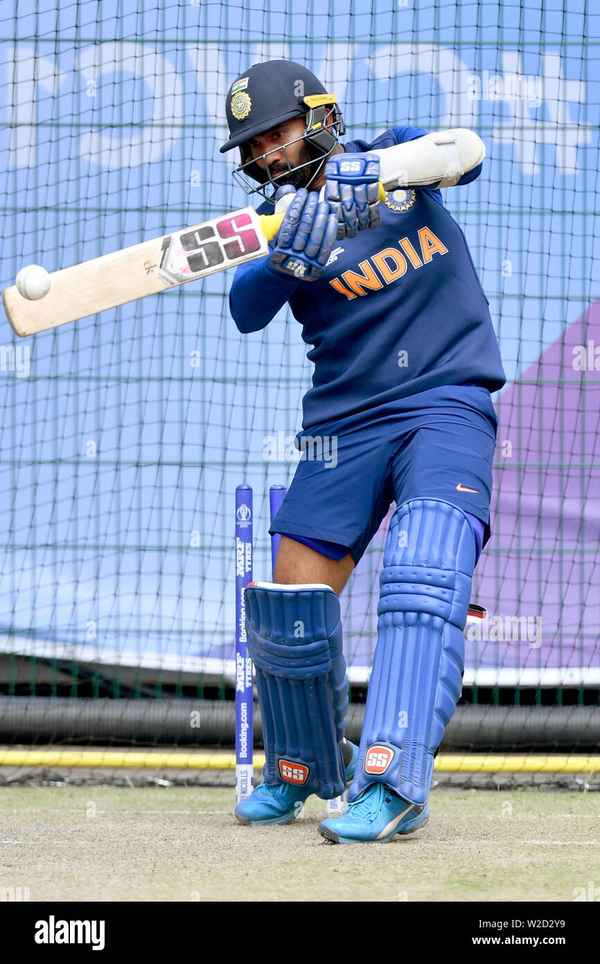 India's KL Rahul bats during the nets session at Emirates Old Trafford, Manchester. Stock Photo