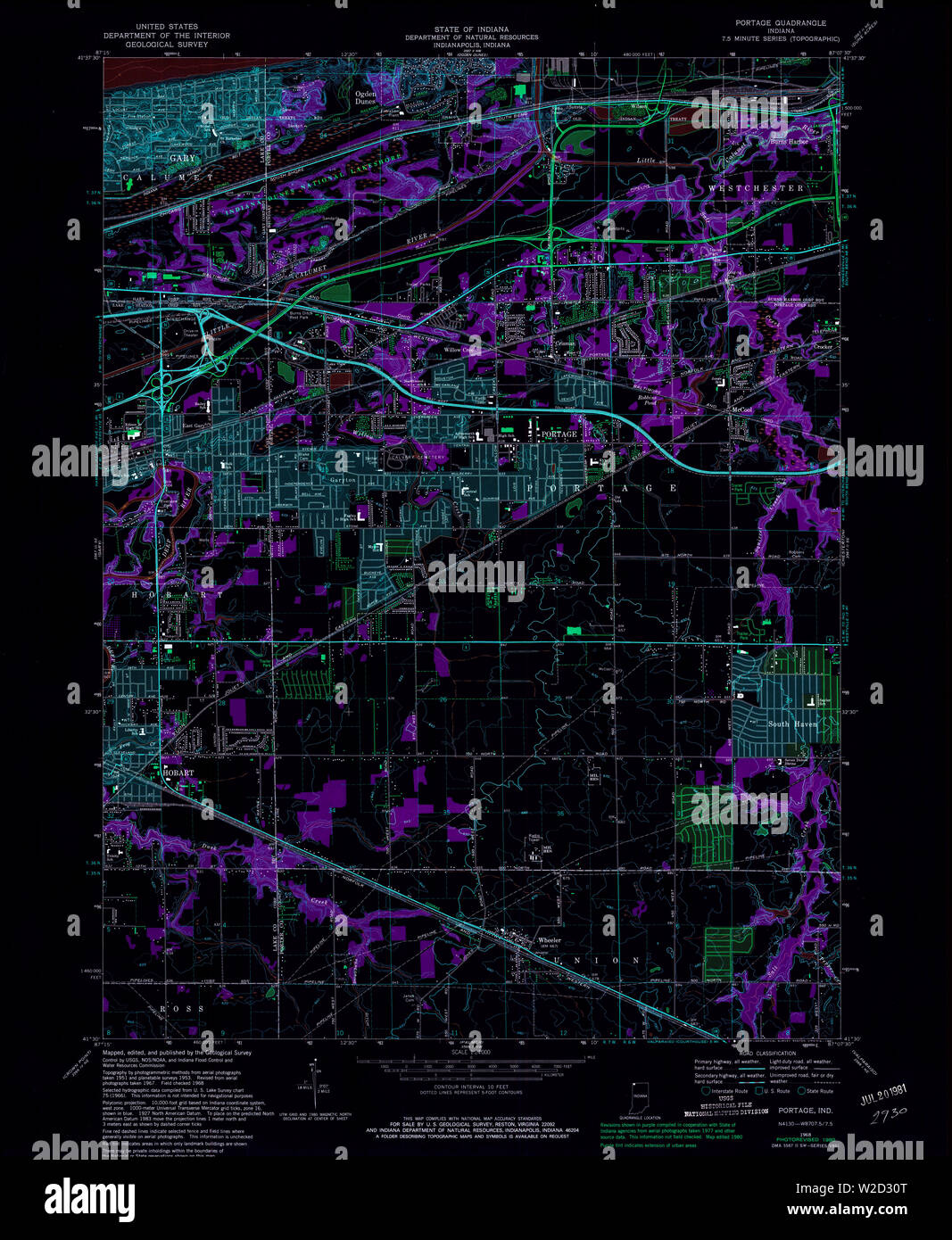 USGS TOPO Map Indiana IN Portage 160891 1968 24000 Inverted Restoration Stock Photo