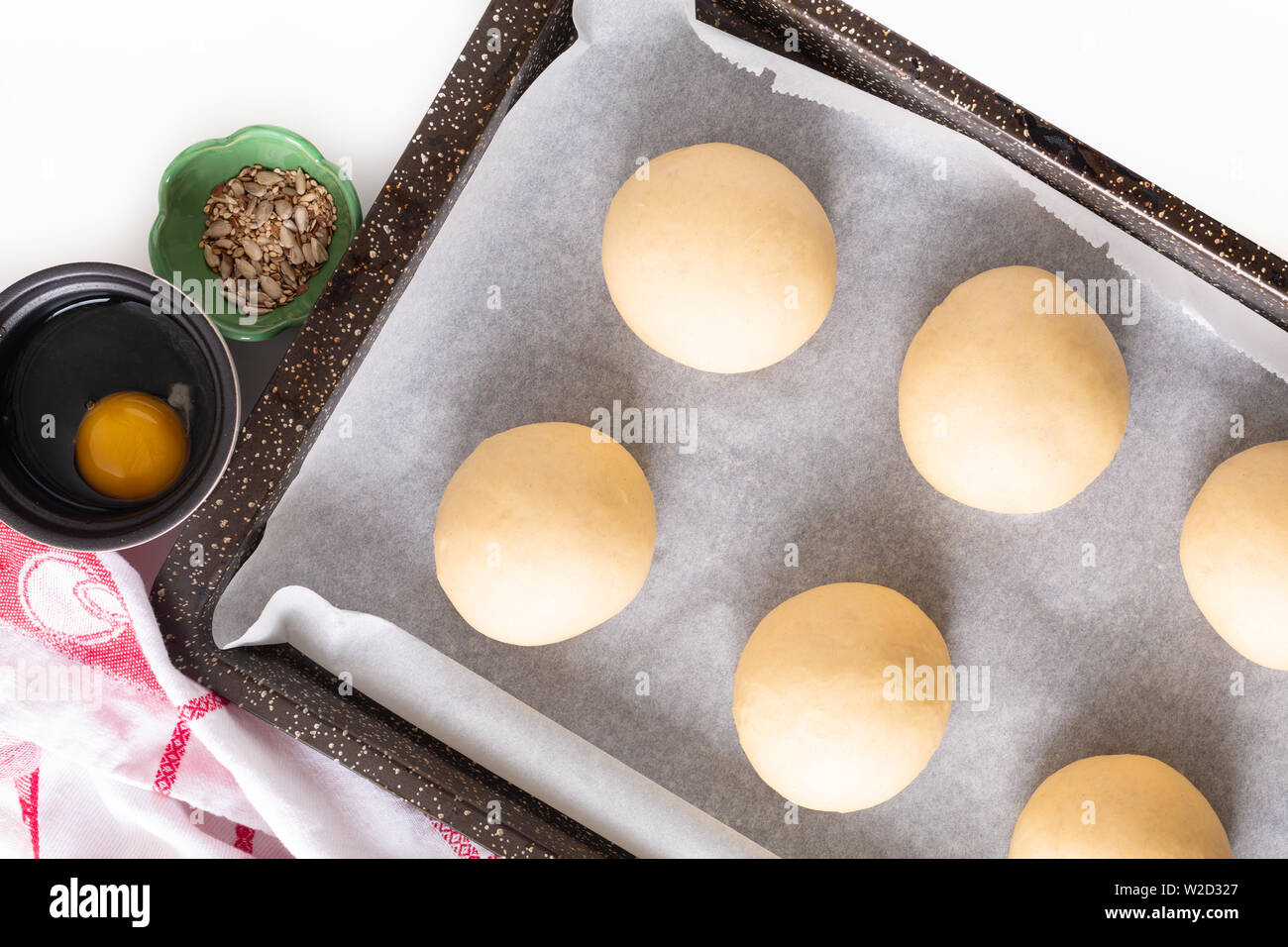 Food concept Proving, Proofing yeast dough of hamburger buns