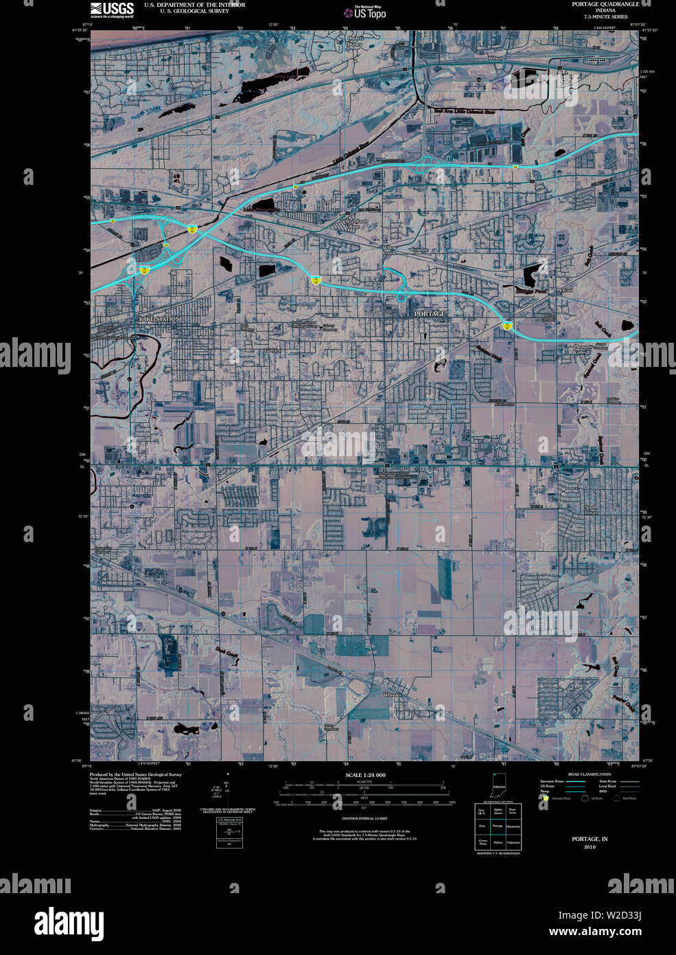 USGS TOPO Map Indiana IN Portage 20100512 TM Inverted Restoration - Stock Image