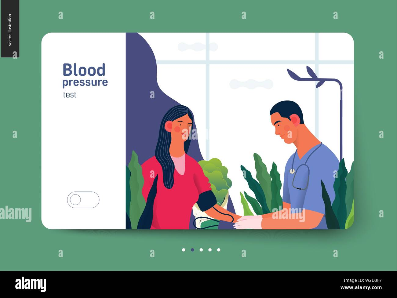 Medical tests template - blood pressure test - modern flat vector concept digital illustration of blood pressure measurement procedure - a patient and Stock Vector