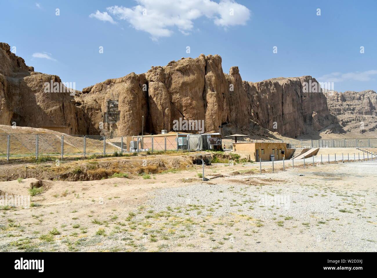 Naqsh-e Rostam, Shiraz, Fars Province, Iran, June 22, 2019, the view of Naqsh-e Rostam near the Shiraz City at the day - Stock Image