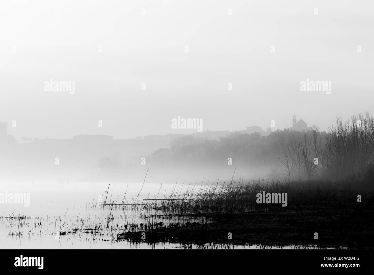 Beautiful view of Trasimeno lake (Umbria) shore at dawn, with Castiglione del LAgo town at the distance - Stock Image