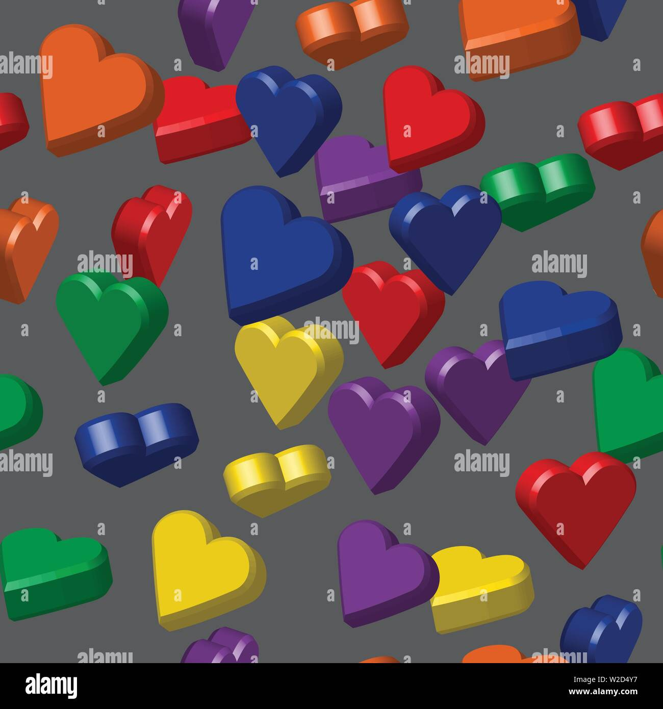 Rainbow Colors Hearts Seamless Pattern, 3D Illustration Stock Vector