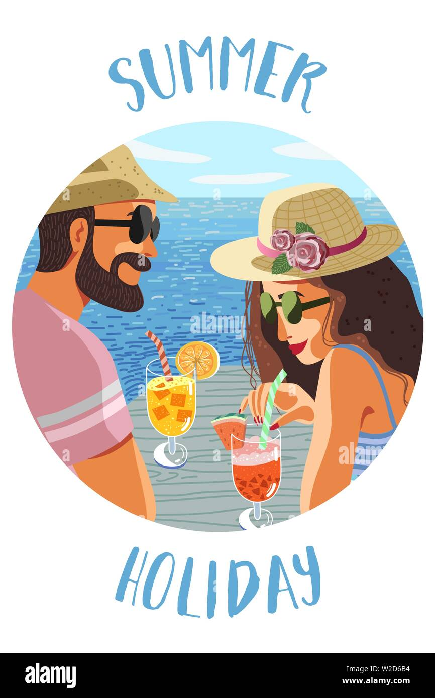 Summer holiday. Circle icon with an flat hand-draw illustration of a couple man and woman on a background of blue sea drink fruit cocktail under - Stock Vector
