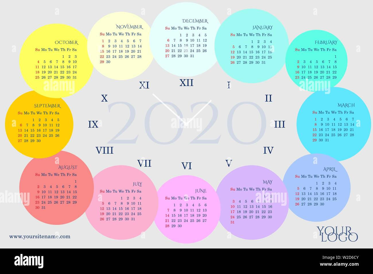 Roman Calendar 2020 Calendar 2020 in the clock form with months in rainbow circles