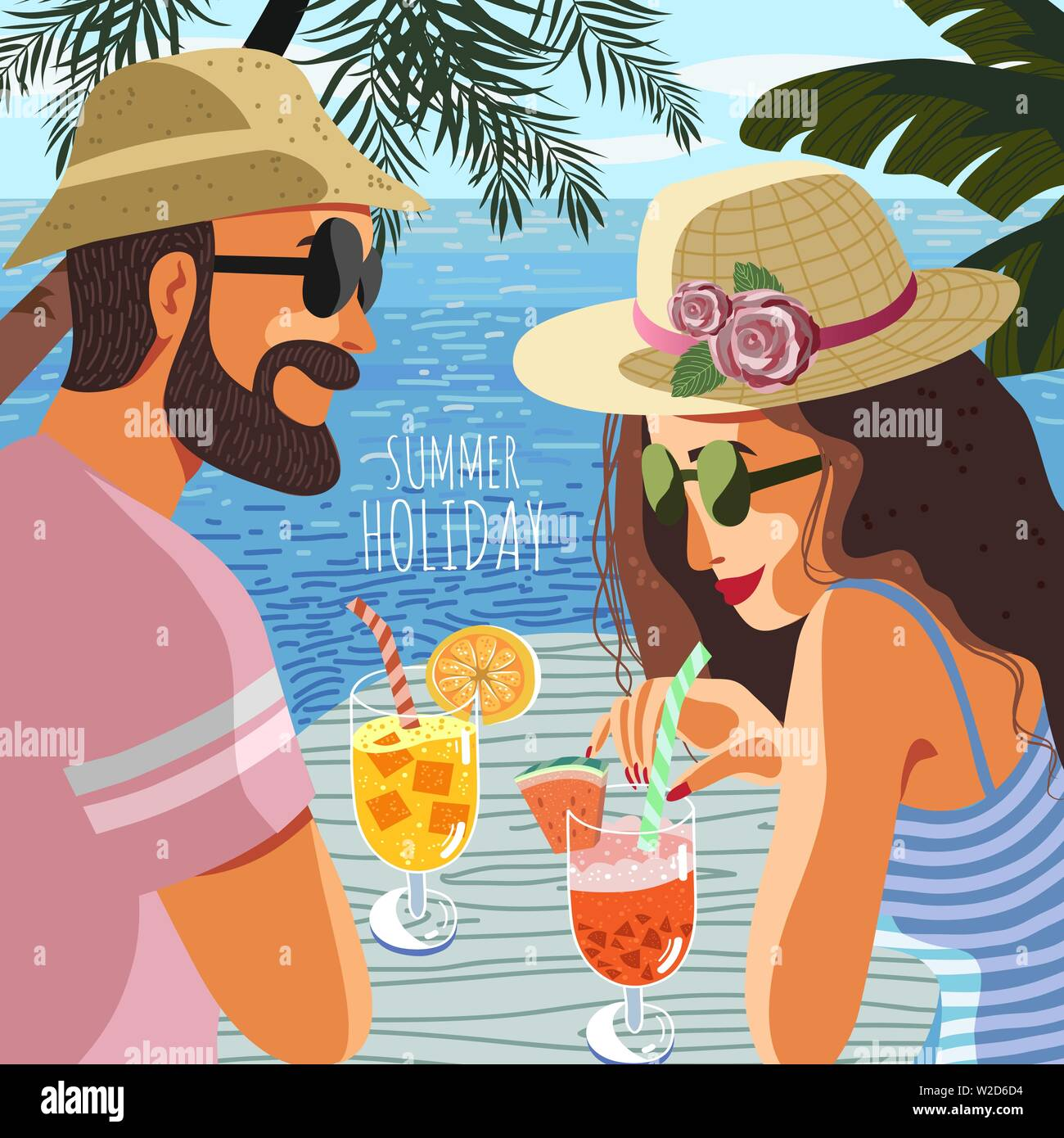 Summer holiday. Cute poster, card or cover with an flat hand-draw illustration of a couple man and woman on a background of blue sea drink fruit - Stock Vector