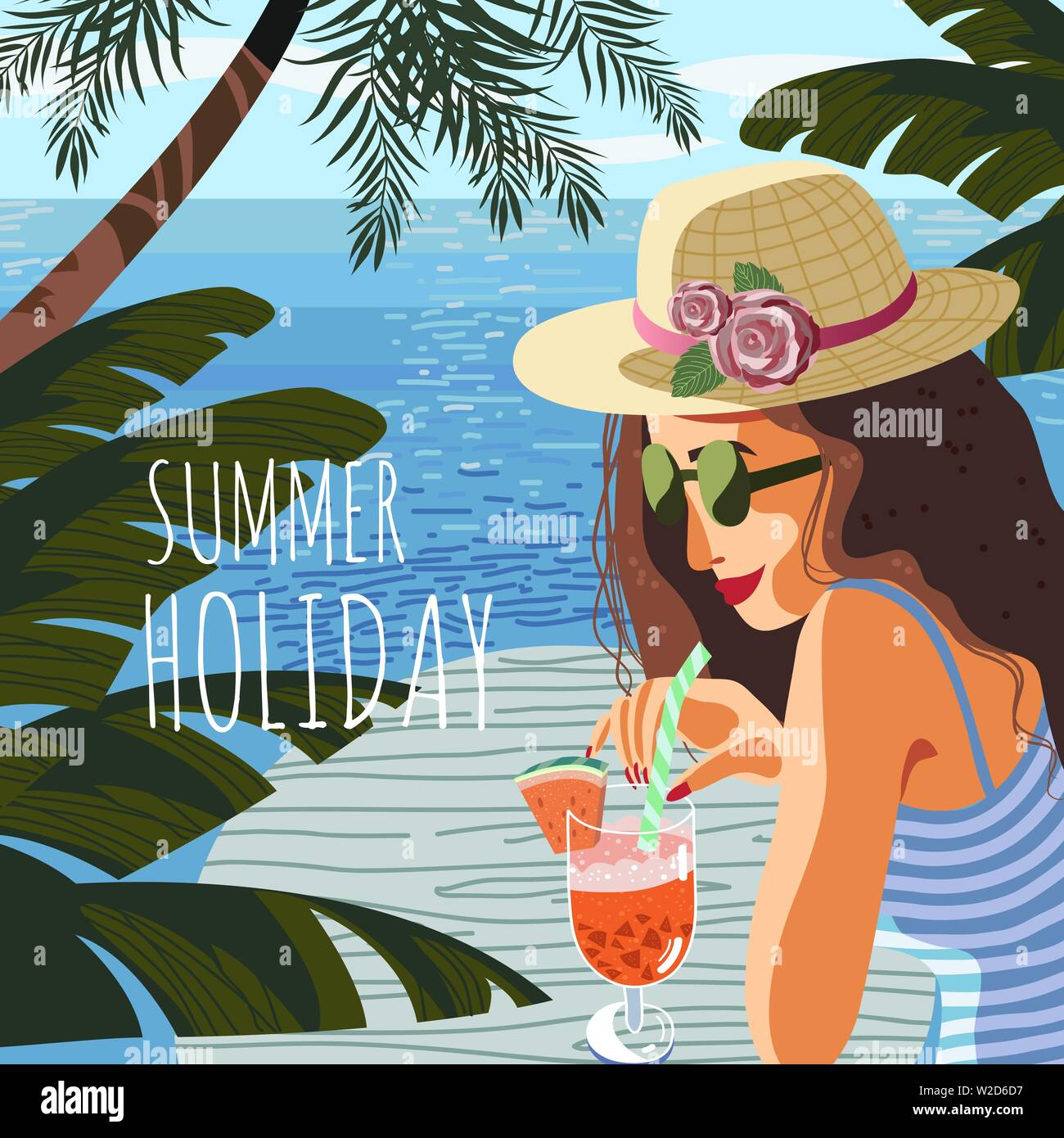 Summer holiday. Cute poster, card or cover with an flat hand-draw illustration of a woman on a background of blue sea drink fruit cocktail under - Stock Vector