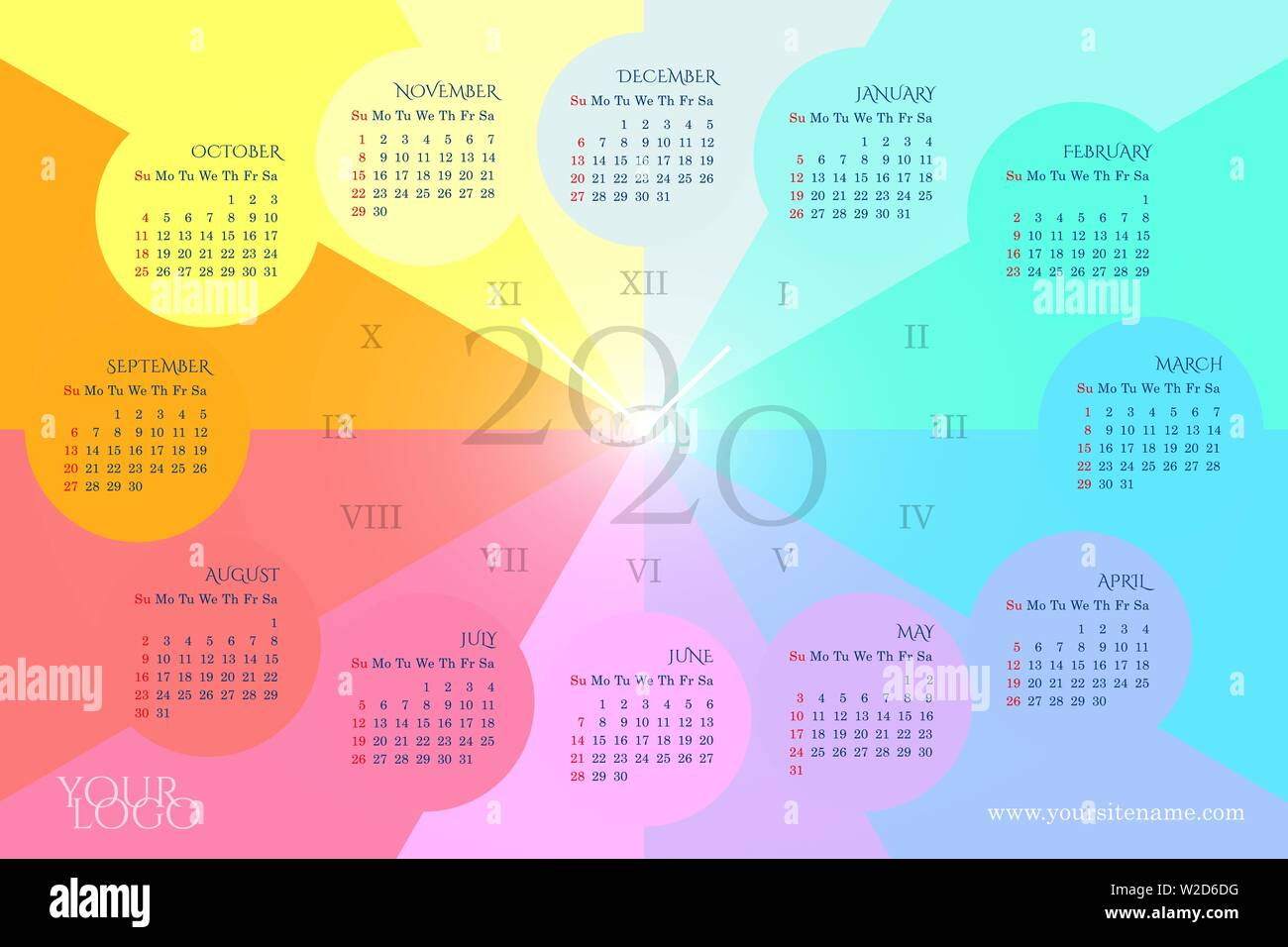 Roman Calendar 2020 Rainbow wall calendar 2020 in the form of a clock with months in