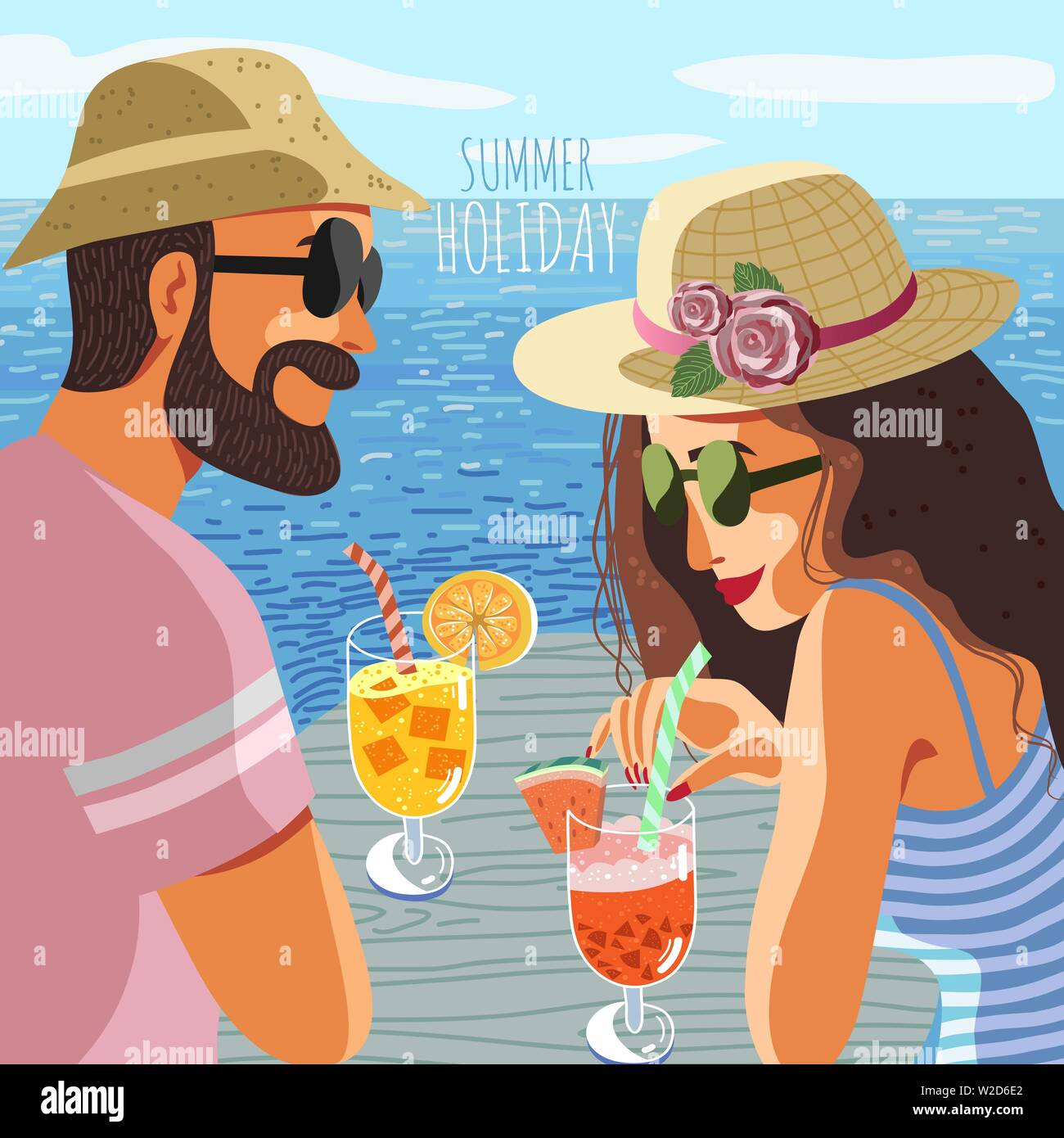 Summer holiday. Cute poster, card or cover with an flat hand-draw illustration of a couple man and woman in hats and sun glasses on a background of - Stock Vector