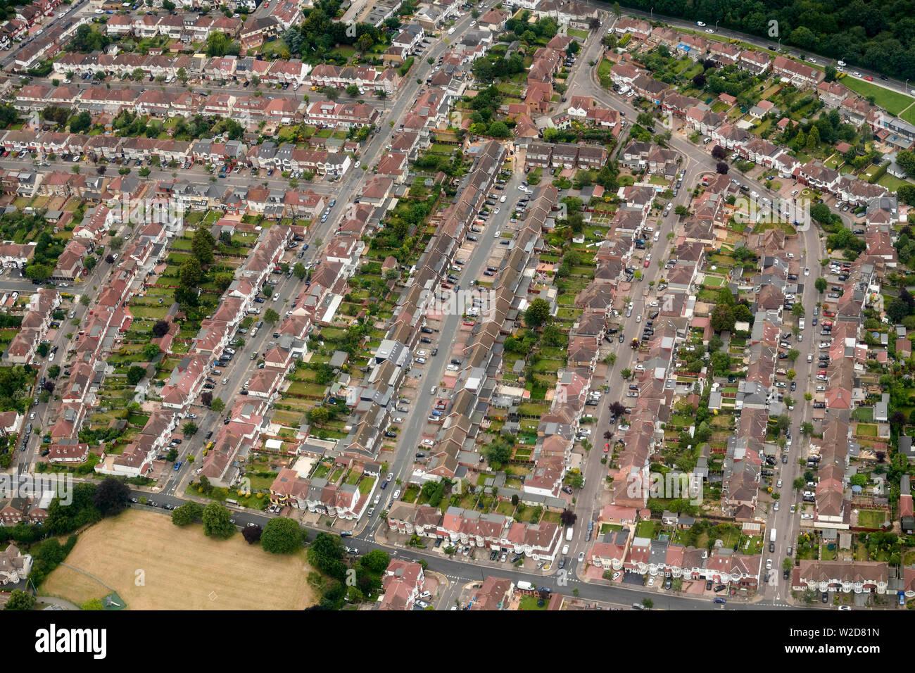 Overhead view of housing, East London, UK Stock Photo