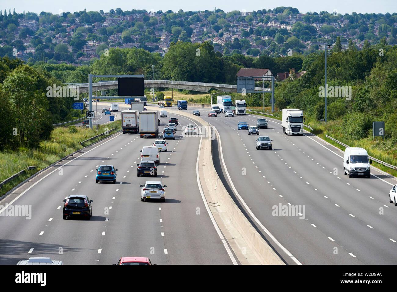 M1 Motorway between Rotherham & Sheffield, South Yorkshire, Northern England, UK - Stock Image
