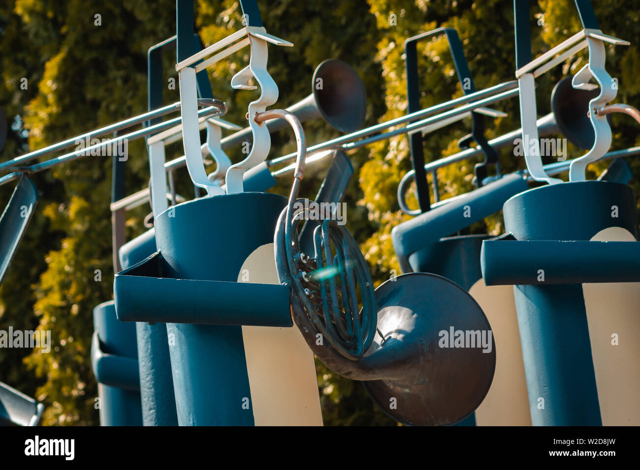 Marching band statues at the Frederik Meijer gardens - Stock Image