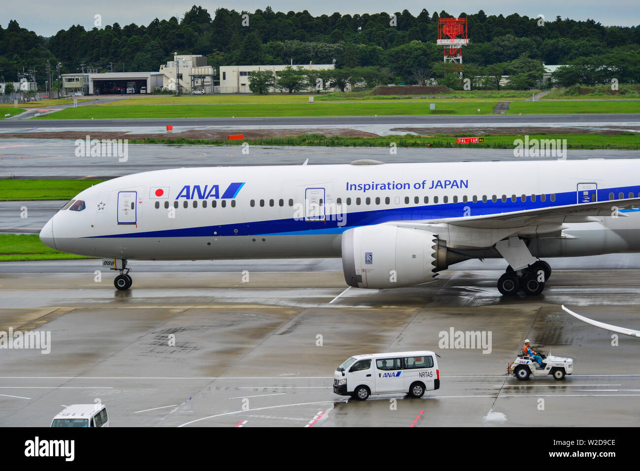 Tokyo, Japan - Jul 4, 2019. JA888A All Nippon Airways Boeing 787-9 Dreamliner taxiing at Narita Airport (NRT). - Stock Image