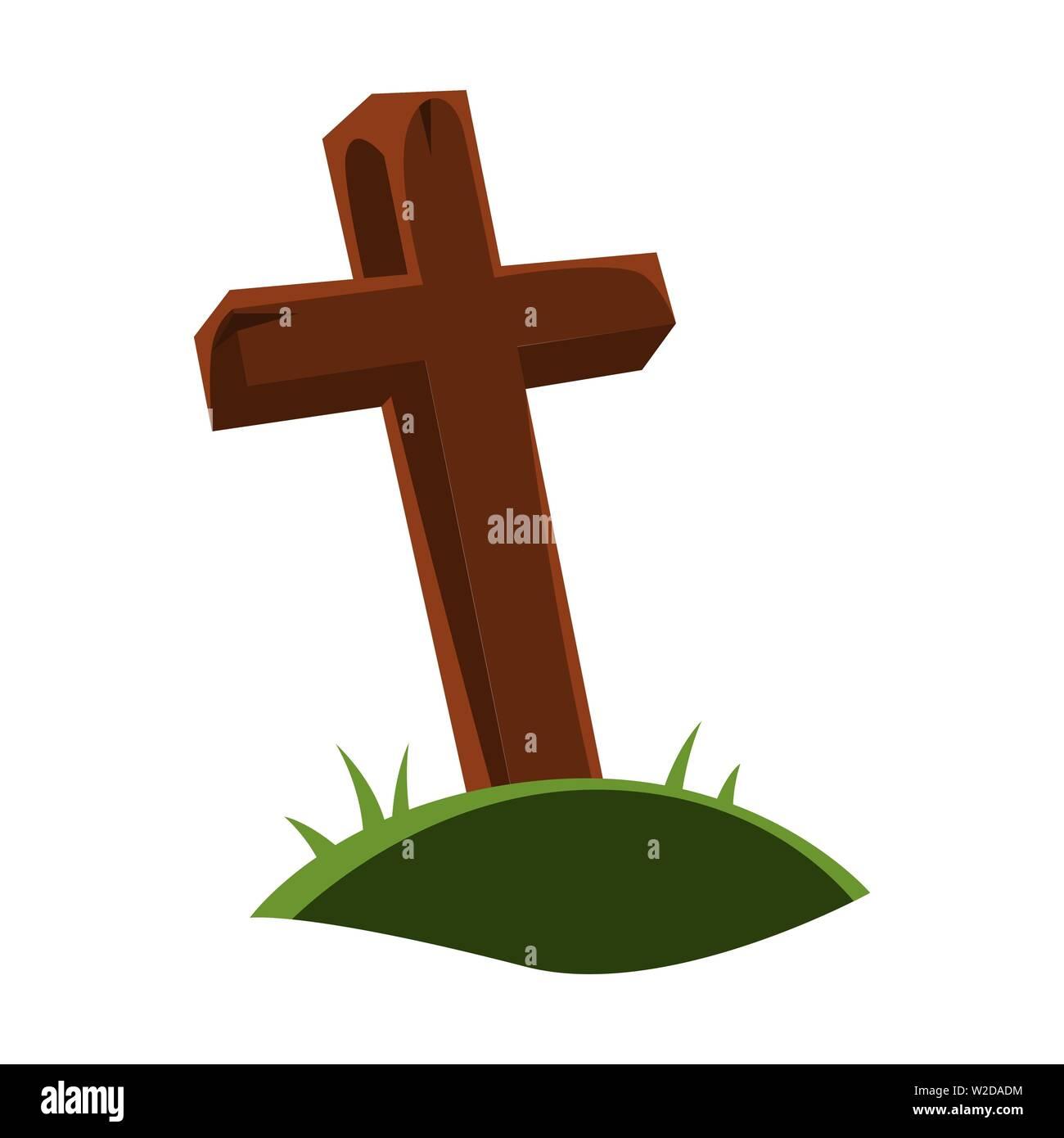 Happy halloween illustration of grave cross. - Stock Vector