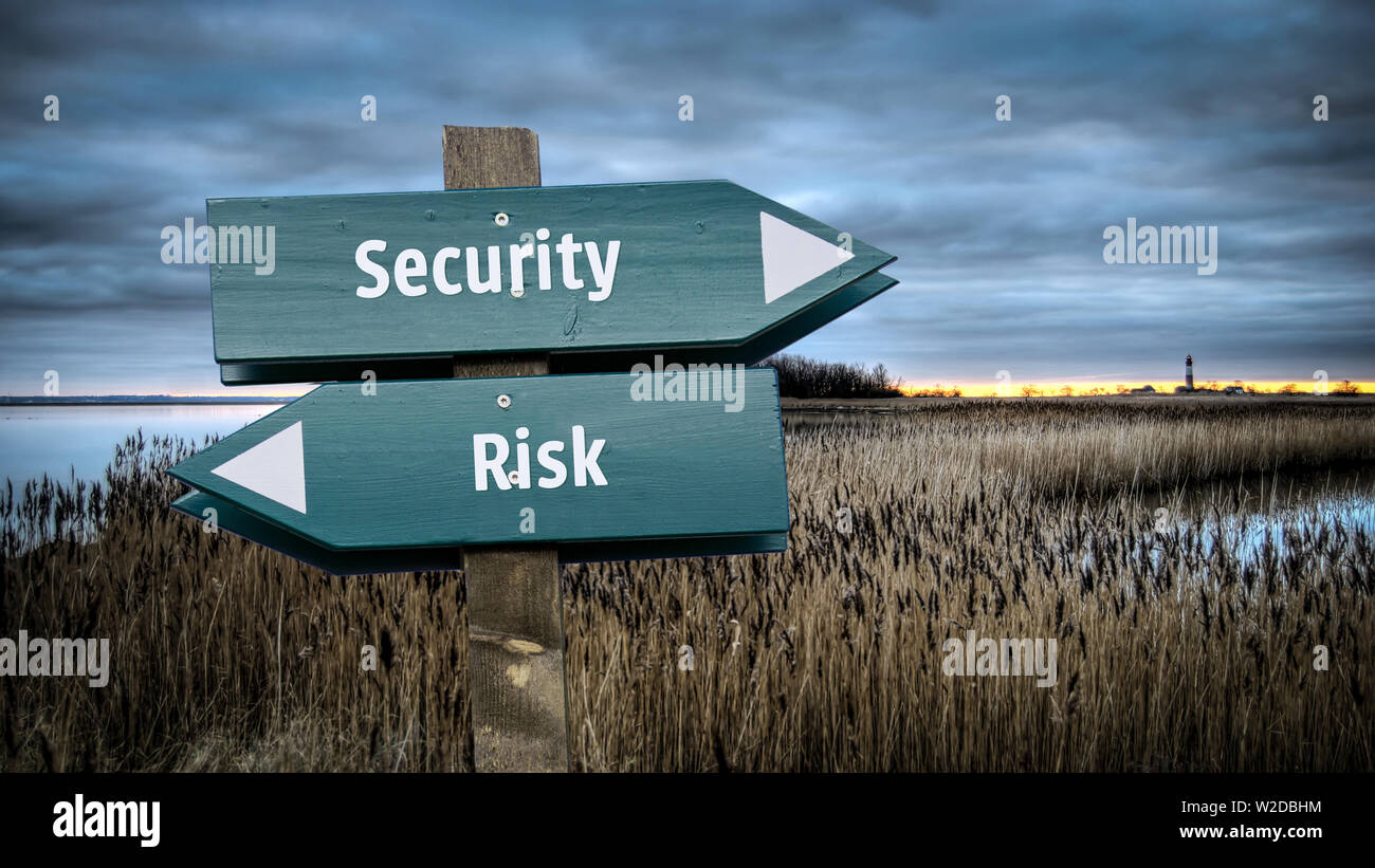 Street Sign the Direction Way to Security versus Risk - Stock Image