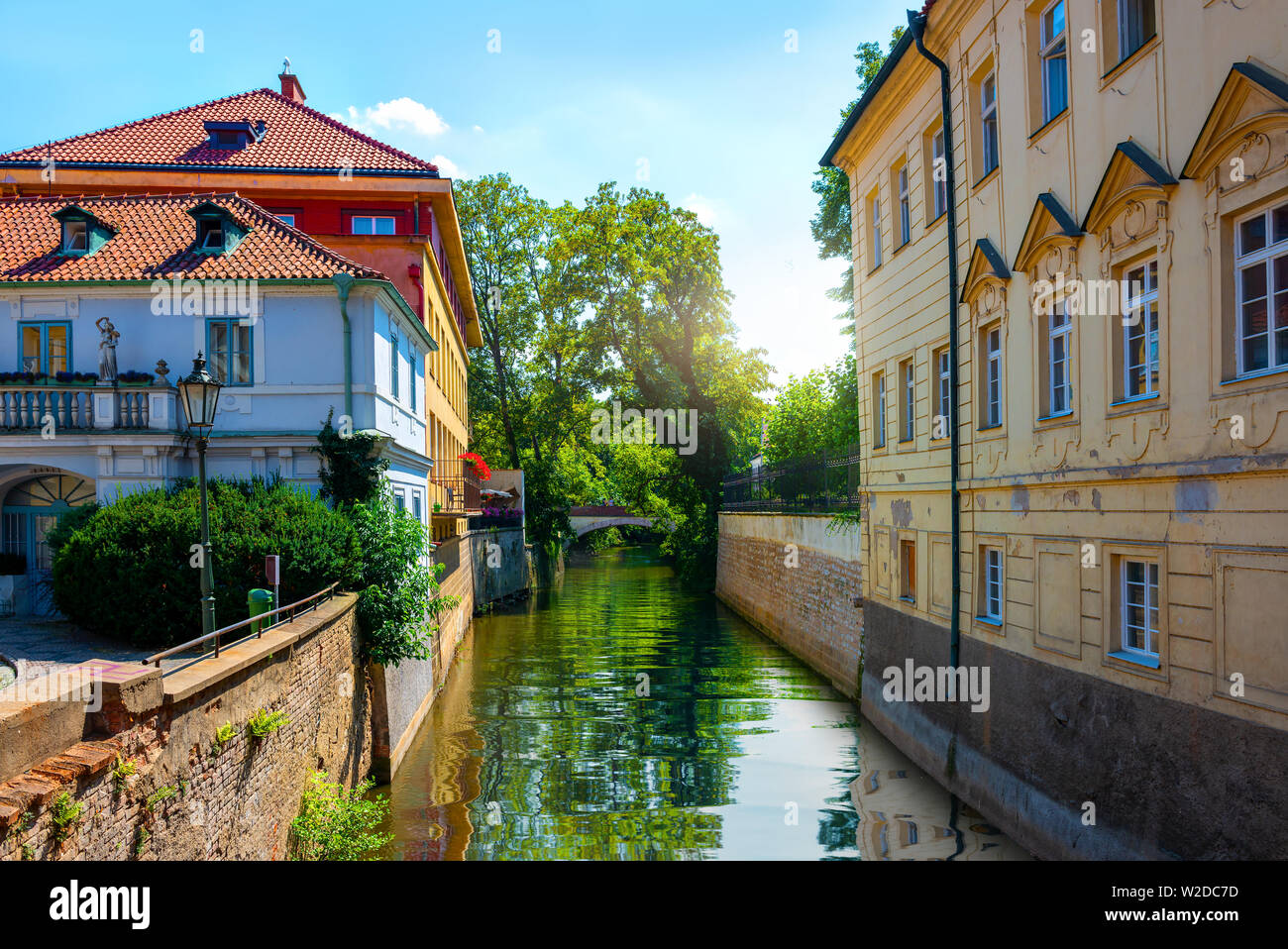 View on channal Certovka in Prague at sunrise - Stock Image