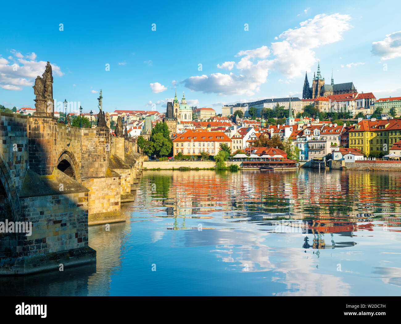 View on Old city and St Vitus Cathedral in Prague - Stock Image