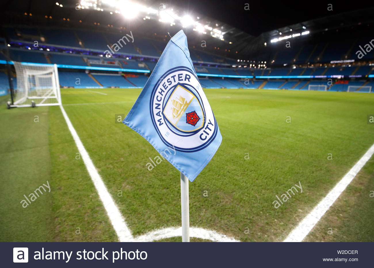 File photo dated 06-06-2019 of File photo dated 09-01-2019 of general view of a Manchester City corner flag at the Etihad Stadium, Manchester. - Stock Image