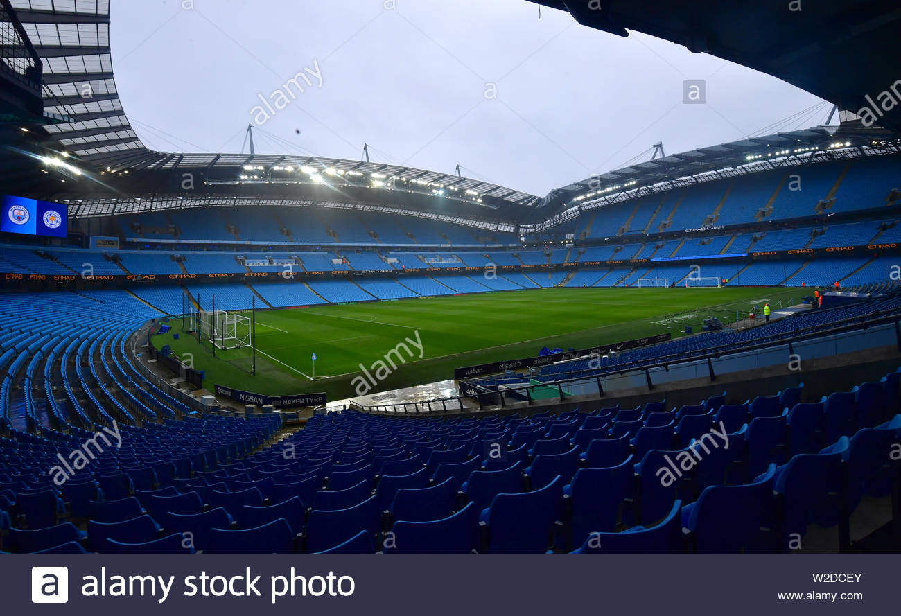 File photo dated 10-02-2018 of A general view of the Etihad Stadium, Manchester. - Stock Image