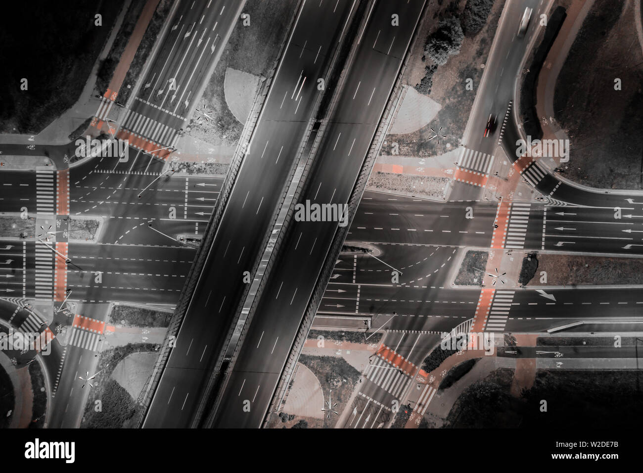 Road beautiful Aerial View of Busy Intersection , top view , Europe at night - Stock Image