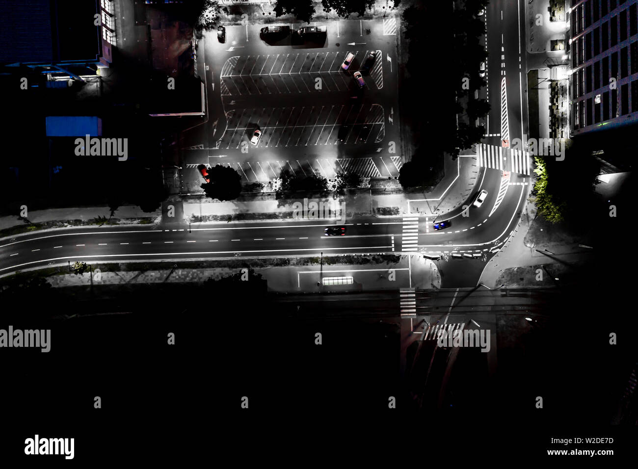 The light on the road at night and the city in Warsaw Road beautiful. Aerial view. Top view. Background scenic road. curves road drone - Stock Image